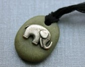 Clearance Faux jade elephant pendant necklace