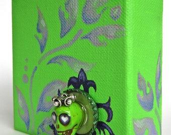 SALE Green Royalty: Small Canvas Mixed Media