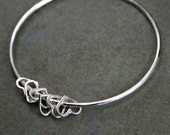 Sterling Silver Heart Bangle, Heart Charm Bracelet, Stacking Bracelet, Stackable Bangle, Mother's Day, You Choose the Number of Hearts, Love