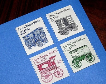 Antique Wagon Wheels .. Unused Vintage Postage Stamps .. Enough to mail 5 letters