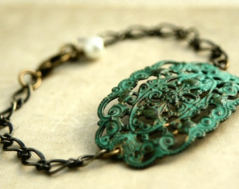 Verdigris Filigree Chain Bracelet, Green Patina, Filigree Cuff Bracelet, Chunky Bracelet, Adjustable Bracelet, Antiqued Brass Filigree