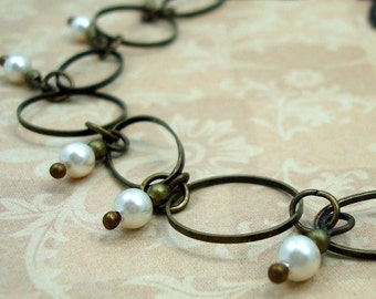 Handmade Necklace with Cream Swarovski Pearls and Brass Hoops