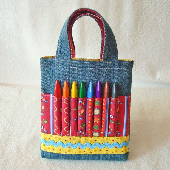 Crayon Bag Art Tote Flower Girl Gift Activity Clearance ARTOTE MINI in Bird in the Hand READY to Ship