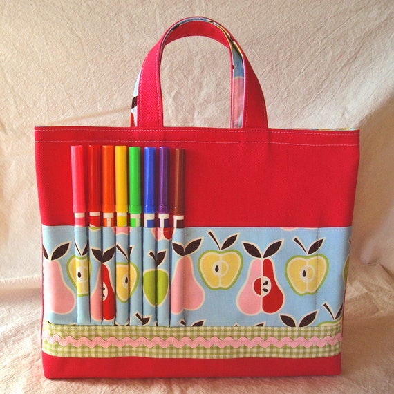 Coloring Tote Crayon Bag Crayon Tote in Fruit Salad READY To SHIP