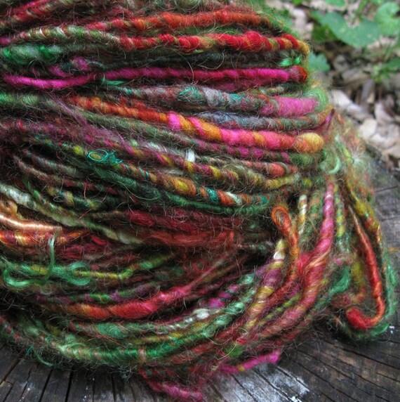 Rainbow Chard - corespun handspun pygora art yarn