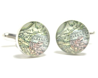 New Orleans Map, New Orleans Wedding, New Orleans Cufflinks, New Orleans Jewelry