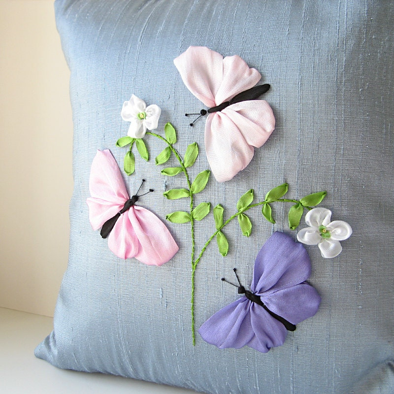 Butterflies pillow pastel color silk ribbon embroidery