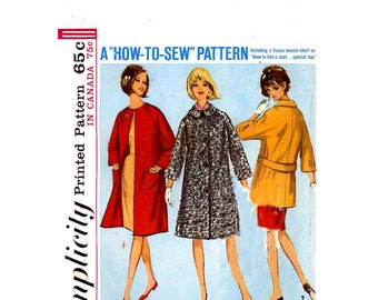 60s Mod womens coat vintage sewing pattern Simplicity 5612 Bust 38