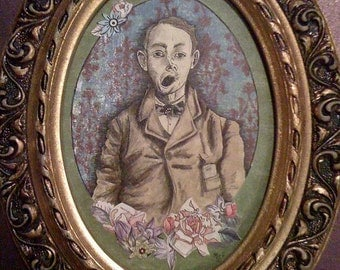 """My Love, Charlie Burroughs"""" Original Framed Victorian Style Collage"""
