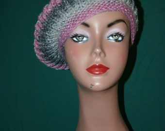 Wee Wee - The feel of Paris - Beautiful Knitted Beret in Varigated Pinks and Gray