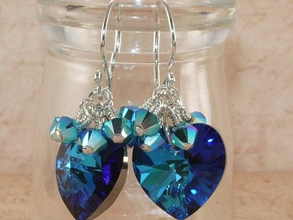 Crystal Heart Earrings, Swarovski, Bermuda Blue, Carribean Blue Opal, 2XAB, Dangle, Cluster, Stacked, Sterling Silver, Handmade Jewelry
