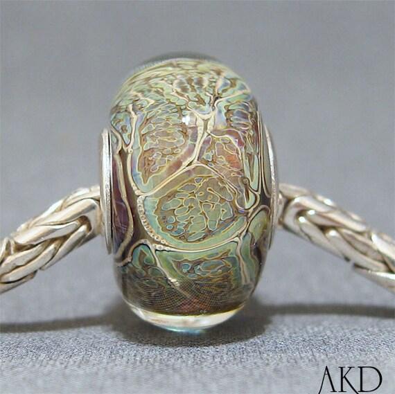 OOAK Handmade Lampwork Green Bead SRA Euro Bracelet Charm Fits Trollbeads Topographic