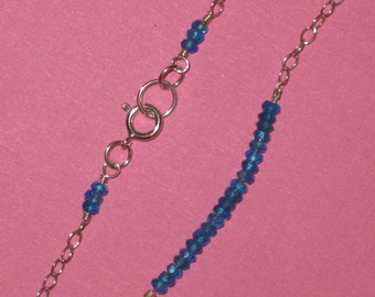 Gemstone Bar Necklace - Sterling Silver Chain Choice of Tiny Faceted Apatite, Garnet, Peridot, Carnelian, or Iolite