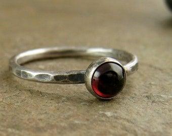 Sterling Silver & Garnet Ring, Hammered Stack Ring, Garnet Jewelry, January Birthday Birthstone Red Garnet