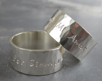 Personalized ring, Wide hammered silver ring, Engravable ring, wide silver band, hand forged ring, sterling silver, Soft Reflections