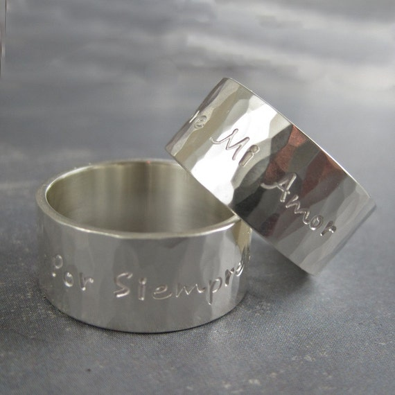 Personalized ring - Wide hammered ring in sterling silver - Soft Reflections - 8 or 10mm wide