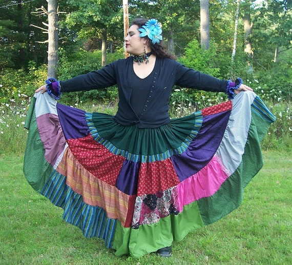 Gypsy Circus 10 yd Skirt-Patchwork Tiered Skirt-Folkloric Skirt-Belly Dance Skirt