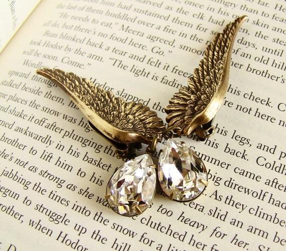 Brass Wing Earrings clip-on bridal earrings Steampunk Vintage style Swarovski drop earrings  bridal jewelry wedding jewelry gift for women