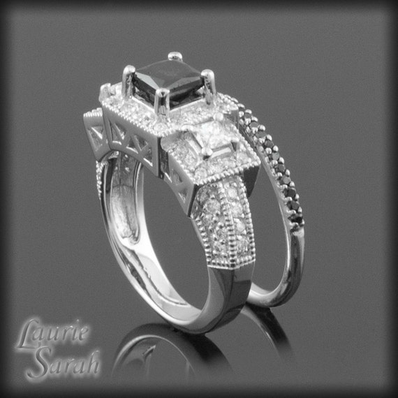 Black Diamond Engagement Ring Princess Cut with White