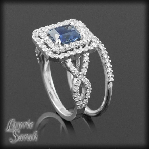 Emerald Cut Engagement Ring, Blue Sapphire Wedding Set with Double Halo, Twisted Shank and Half Eternity Band - LS2143