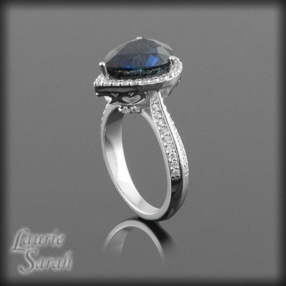 Sapphire Engagement Ring, Pear Cut Blue Sapphire with Hidden Hearts - Diamond Halo and Knife Edge Shank - LS1337