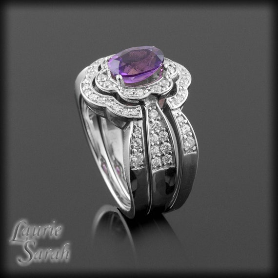 Amethyst Engagement Ring, Amethyst and Diamond Blossom 3 Ring Wedding Set in 14kt White Gold - February Birthstone Ring - LS468
