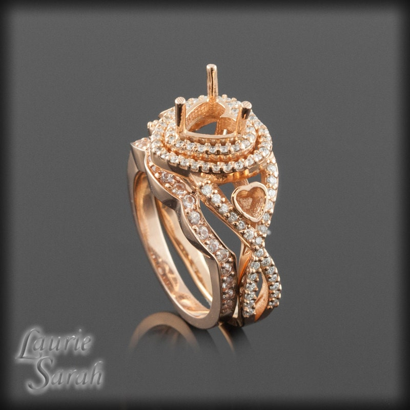 Rose Gold Wedding Ring Set Heart Shaped by LaurieSarahDesigns