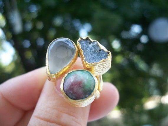 SALE  SALE  SALE ------------Quartz and Druzy Triple ring