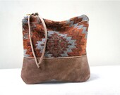 Native Vintage Carpet and Brown Leather Pouch