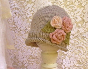 Girls Hat Gray Alpaca with Pink Roses, Baby or Toddler Hat