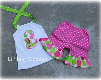 Custom Boutique Clothing Strawberry Shortcake Disco Dot PInk Personalized Birthday Short Halter Outfit