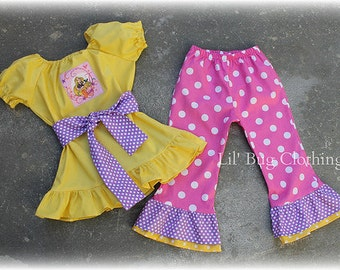 Custom Boutique Clothing Girl  Disney Princess Repunzle Tangled Peasant Top and Pant Set