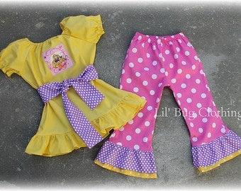 Custom Boutique Clothing Girl  Disney Princess Repunzle Tangled Peasant Top and Pant Set