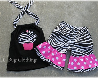 Custom Boutique Clothing Zebra and Pink Dots Cupcake Birthday Short And Halter Top