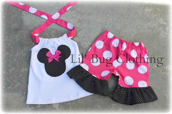 Custom Boutqiue Minnie Mouse Hot Pink Jumbo Dot with Black Pin Dots SHort & Halter Top