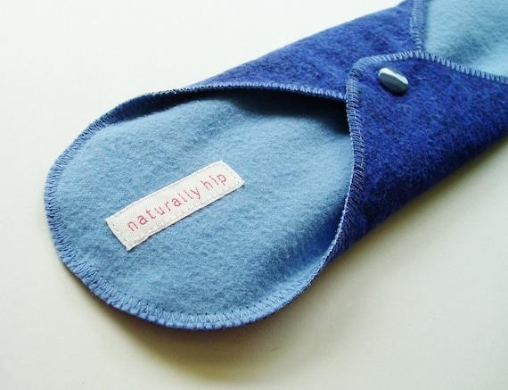 "10.5"" Flannel Cloth Menstrual Pad - Mottled Blue & Periwinkle"