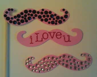 Set of 3 Foam Bedazzled Mustaches on a Stick Photo Booth Props, Jeweled Mustache on Stick Set, I Love You mustaches