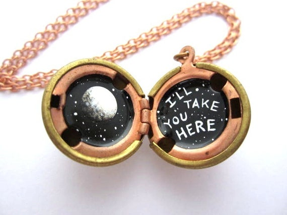 Full Moon Locket - Original, Hand-painted in Oil, Vintage Stock - Black and White