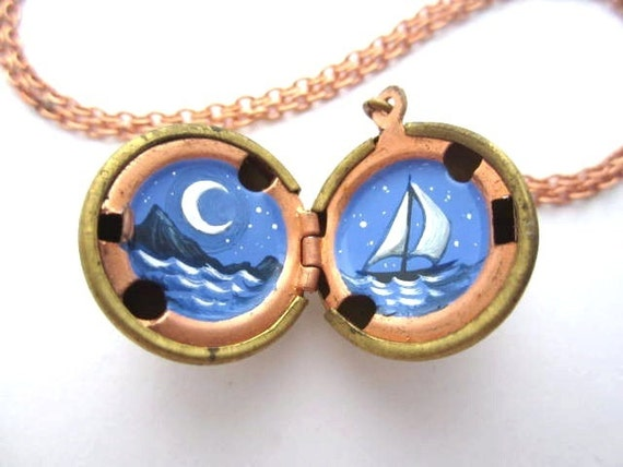 Sailboat and Moon, Hand-painted Locket, Sailing at Night on a Dark Periwinkle Sea