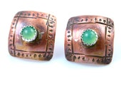 SW Rustic Copper Concho Button with Chrysoprase Earring