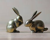 pair of brass bunny figures