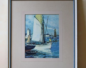modern boat nautical watercolor painting framed, blue and white