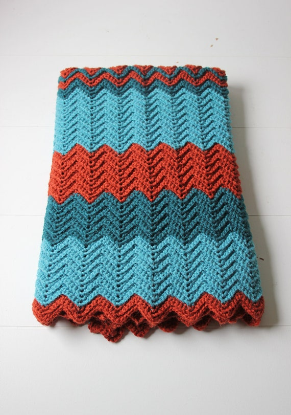 Crochet Lap Blanket : teal and rust crochet lap blanket afghan chevron by ModishVintage