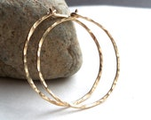 Hammered Gold Hoop Earrings, 30mm Gold Filled Hoops, 18g wire
