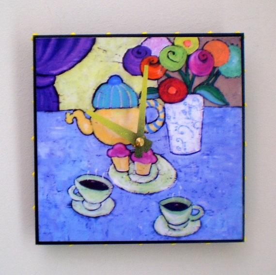 Teapot and Cups Clock Still Life, Coffe, Tea, Kitchen Clock, Women's Gift, Functional Art, Original Art,  6 x 6 inches