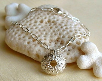 Sea Urchin Bracelet - Sterling Silver - Beach Inspired - Spiky - Bumpy - Handmade - Organic - Cottage Chic - Shell Bracelet - Charm Bracelet