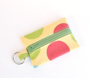Small Zippered Pouch, Credit Card Holder, Business Card Holder, Balls in Daffodil
