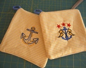Set of Two Nautical Potholders - Golden Yellow Gingham  - Embroidered Anchors