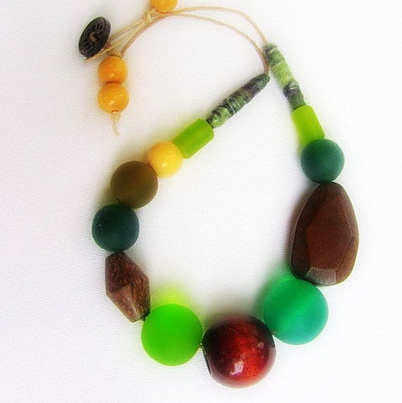 SALE - Resin Wooden Necklace - Green and Brown Beaded