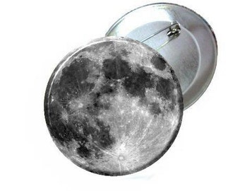 "1"" 1.25"" 2.25"" Pinback Button - Moon"